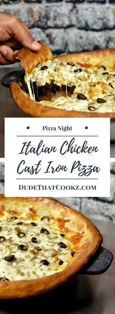 Anything made in a cast iron just seems to always taste great and the same goes for this Italian chicken cast iron skillet pizza. via @dudethatcookz