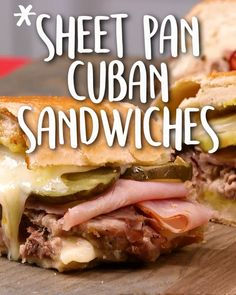 Make perfectly pressed and toasty Cuban sandwiches for a crowd in one go with this genius sheet pan technique. This recipe is an incredible way to recycle leftover pork roast or pork tenderloin into a delicious way to feed a group. Kubanisches Sandwich, Best Sandwich Recipes, Deli Sandwiches, Soup And Sandwich, Tortas Sandwich, Sandwiches For Dinner, Dagwood Sandwich, Cuban Pork Sandwich, Monte Cristo Sandwich