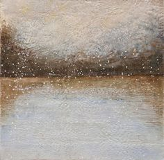 """""""Niveous Lake"""", Encaustic on wood, 42"""" x 42"""" by #artist Susan Wallis, only at #GalerieSaintDizier"""