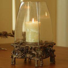 Love this pinecone hurricane lamp!