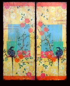 """Kathe Fraga paintings, inspired by the romance of vintage Parisian wallpapers and Chinoiserie Ancienne. """"In A Paris Courtyard I and II"""" on aged frescoed canvas. www.kathefraga.com"""