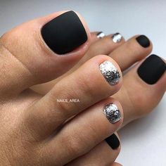nails black 63 ideas pedicure designs toes silver Laminated Flooring Installation Tips L Black Pedicure, Shellac Pedicure, Pedicure Colors, Pedicure Nail Art, Toe Nail Art, Pedicure Ideas, Simple Toe Nails, Cute Toe Nails, French Pedicure Designs