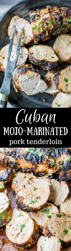Grilled Cuban Mojo-Marinated Pork Tenderloin an easy and delicious overnight marinade with powerful flavors from the garlic citrus and herbs. Grilled to perfection this tender pork will garner praise from your grateful dinner companions! Grilling Recipes, Pork Recipes, Cooking Recipes, Healthy Recipes, Cuban Recipes, Healthy Food, Vegetarian Grilling, Healthy Grilling, Game Recipes