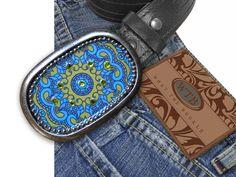 Bohemian Blue Bling Belt Buckle. via Etsy.