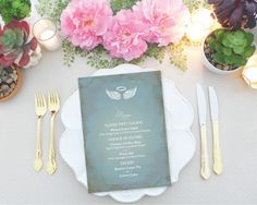 DIY Angel Wings Menu Card  MS Word Template Baptism by VGInvites