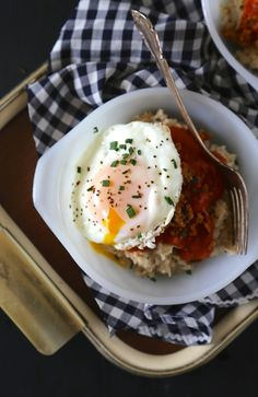 Red Eye Gravy Oatmeal with Fried Egg & Chorizo | Climbing Grier Mountain