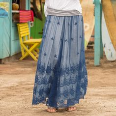 """GREAT LENGTHS LACE SKIRT--Embrace the easy elegance of our roll waist, long lace skirt. Shell: nylon/cotton. Lining: cotton/spandex. Machine wash. Imported. Exclusive. Sizes XS (2), S (4 to 6), M (8 to 10), L (12 to 14), XL (16). Approx. 35""""L."""