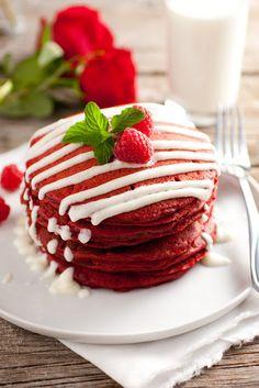 Red Velvet Pancakes with Cream Cheese Glaze - Valentines breakfast please!