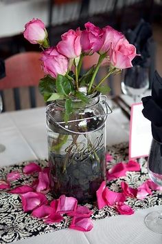 ordering petals may be a way to tie in your shade of pink