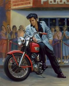 """Famed motorcycle lifestyle artist David Uhl has captured two icons of the early rock 'n roll era. The """"King"""", Elvis Presley profiling aboard his 1956 Harley-Davidson KHK for some adoring fans. Elvis bought the 1956 KHK in January 1956 and the famous picture of him on the bike was the cover of the May 1956 issue of the Enthusiast Magazine. The bike is now in the Harley-Davidson Museum in Milwaukee."""