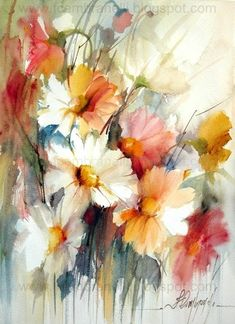 Chettie Stelling's media content and analytics Watercolor Design, Watercolour Painting, Watercolor Flowers, Watercolor Pictures, Arte Floral, Abstract Flowers, Flower Art, Art Projects, Images