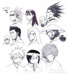 Renji Abarai, Byakuya Kuchiki, Yachiru Kusajishi, Kenpachi Zaraki, Ryuuken Ishida, Isshin Kurosaki, Jushiro Ukitake, Shunsui Kyoraku, Ichigo Kurosaki, Uryu Ishida, and Chad Sado Bleach