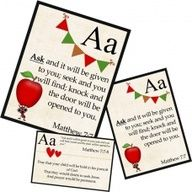 Prayer cards to help your kids memorize Gods word (while learning the alphabet) and to give you specific ways to pray for your kids as they grow.
