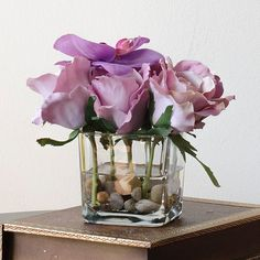 Silk Rose Arrangement with Purple Rose Orchid Flowers by flovery, $27.00