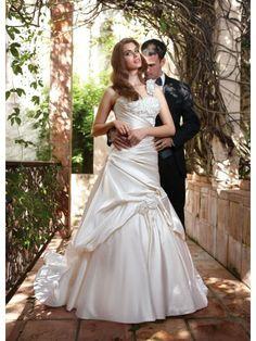 Satin One-shoulder Alternating Vertical Pleated Bodice A-line Wedding Dress