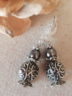 Charcoal Pearl Antique Pewter Beaded Earrings