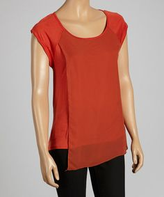 Take a look at this Rust Chiffon Top - by Chris & Carol apparel on #zulily today! $15 !!
