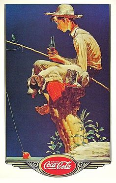 Boy Fishin' by Norman Rockwell (1935) Currently in Coca-Cola's possession. On display at Coca-Cola's corporate headquarters in Atlanta, Georgia.