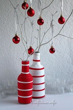 Give those old bottles a new look with these Festive Upcycled Christmas Bottles! This easy Christmas craft is thrifty and fun to make.