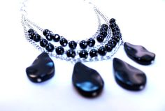 Quartz necklace black necklace multi by NotYourMomsJewellery Black Quartz, Mom Jewelry, Black Necklace, Multi Strand Necklace, Quartz Necklace, Girls Night Out, My Etsy Shop, Buy And Sell, Necklaces