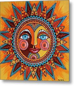 Dia De Los Muertos Wall Art - Painting - Smiling Sun by Kay LarchSmiling Sun Art Print by Kay Larch. All prints are professionally printed, packaged, and shipped within 3 - 4 business days. Choose from multiple sizes and hundreds of frame and mat opt Arte Tribal, Dot Art Painting, Yarn Painting, Madhubani Painting, Sun Art, Hippie Art, Mexican Folk Art, Psychedelic Art, Mandala Art