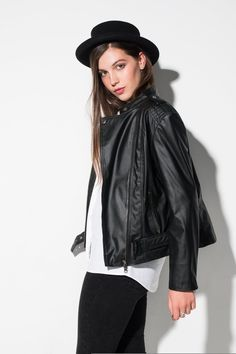 Consistently one of our top sellers, the 'Emma' #vegan faux leather biker jacket for women is true style.