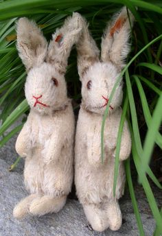 c. 1934  1938 Steiff TWO Hase Rabbits w/Button & Red Tag