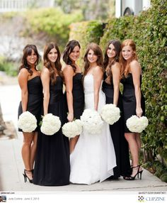 Black + White Weddings w/ White Hydrangeas