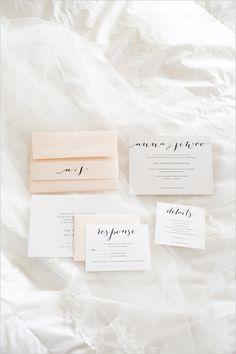 white and peach wedding stationery @weddingchicks