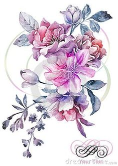 Watercolor illustration flower in simple background