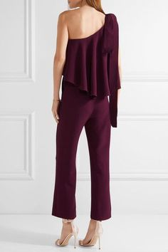 Grape stretch-crepe Concealed hook and zip fastening at side 63% rayon, 34% acetate, 3% elastane; lining: 100% silk Dry clean Designer color: Cherry  Made in Italy