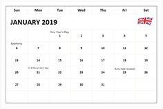116 Best 101+ Free January 2019 Calendar images