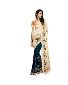 Cream Resham Embroidery Saree Check out all the details of this product here: http://www.ethnicstation.com/cream-resham-embroidery-saree-vl1713  #EmbroideredSaree #onlineDiscount