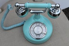 Vintage French Rotary Phone, Tiffany Blue, Retro Teal and Chrome ...
