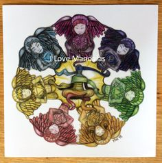 Virtues Mandala Colour Print of Colour Pencil Drawing on Recycled Card