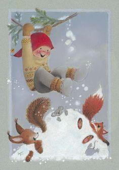 """Photo from album """"Kaarina Toivanen on Yandex. Winter Illustration, Christmas Illustration, Illustration Art, Christmas World, Kids Christmas, Christmas Crafts, Vintage Christmas Cards, Xmas Cards, Creation Photo"""
