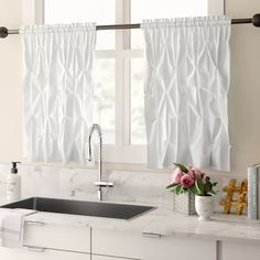 Three Posts Stocksbridge Pintuck Kitchen Curtain Color: White, Size: 60 W x 36 L Kitchen Curtain Sets, Kitchen Valances, White Kitchen Curtains, Shabby Chic Kitchen, Kitchen Decor, Kitchen Ideas, Kitchen Tables, Kitchen Designs, Sweet Home Collection