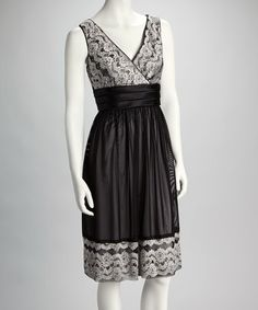 Take a look at this Black & White Sequin Lace Empire-Waist Dress - Women by R Richards on #zulily today!