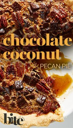 Lisa has taken the humdrum pecan pie and elevated it to heavenly heights with this Chocolate Coconut Pecan Pie. While this divine dessert has the golden gooey filling, it also has the bonus of a blissfully buttery and crisp crust topped with tasty toasted pecans, fanciful flaked coconut and scrumptious semi-sweet chocolate…if that's not a mouthful, we don't know what is. #dessertrecipes #holidaybaking #fundesserts #dessertideas