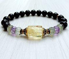 Citrine bracelet, Prehnite, Amethyst,Onyx, gemstone bracelet, calming, Yoga Bracelet, Meditation bracelet, Reiki, healing bracelet, spirituality * Be sure to check out this awesome product.