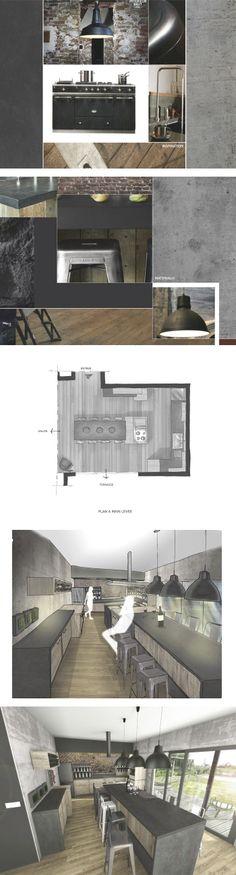 CUISINE INDUSTRIELLE. (design d'espace)  Ambiance chaleureuse et conviviale dans un style industriel pour cette cuisine marquée par les matériaux bruts. Plus de détails sur www.davidbaille.com