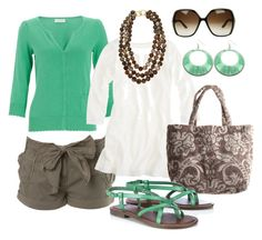 green & brown by htotheb on Polyvore featuring Monsoon, J.Crew, Miss Selfridge, Wallis, Fresco Towels, Kenneth Jay Lane, Gucci, brown, green and white