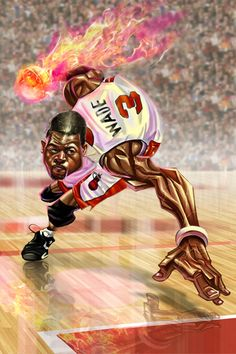 Created by artist Wang Tao, this Dwyane Wade caricature piece is pure fire! We still have a long way to go before Tao's 54 NBA star illustration project is completed and already the awesomene… Mvp Basketball, Miami Heat Basketball, Basketball Shirts, Caricature Art, Creation Art, Nba Wallpapers, Black Love Art, Dwyane Wade, Nba Stars