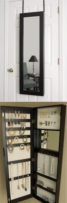 Over the door mirror that opens up as a jewelry organizer. Can also mount to the wall.