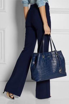 Diane von Furstenberg|Sutra Ready To Go large croc-effect leather tote|NET-A-PORTER.COM #totebag #dianevonfuerstenberg #women #designer #covetme
