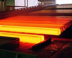 Steel billets - red hot #billets for hot rolling Steel Structure Buildings, Metal Structure, Carnegie Steel, Iron And Steel Industry, Metal Mill, Bethlehem Steel, Casting Machine, Steel Companies, Environmental Portraits