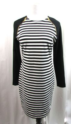 Sold- Michael Kors Black Striped Body Con Dress Gold Zipper Size 8 Excellent #MichaelKors #WeartoWork