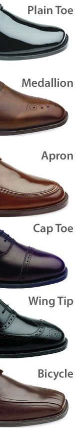 A complete guide to dress shoes- toe style, heel style, materials, vocabulary, and everything you would ever want to know.