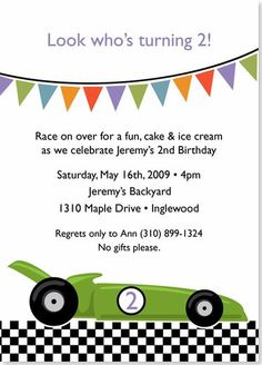 Birthday Party Invitations - Race Car Birthday Invitation