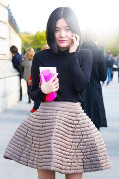 Paris  Name: Meo Meo    Similar Top: Tory Burch or Gap    Similar Skirt: Carven    Similar Clutch: BCBG or Rebecca Minkoff
